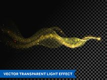 Light line gold wave effect of magic sparkle trail on transparent background. Vector glitter light particles flare trace and bokeh. Light glitter round wave