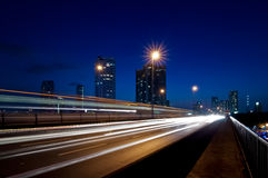 Light line at Taksin Bridge @Bangkok, Thailand. Image Stock Image