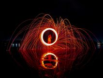 Light lines of steel wool Royalty Free Stock Images