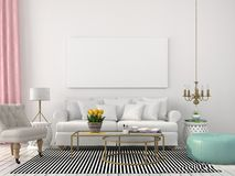 Light Living Room In White And Pastel Colors Stock Images