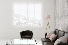 Light living roo mwith copyspace. Light living room interior with furniture, city view and copy space. 3D Rendering Stock Photography