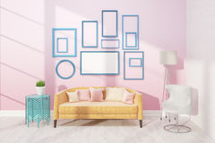 Light living room with sofa. Light living room with cosy sofa, white armchair and small table. Poster on pink wall. Concept of appartment. 3D render. Mock up Stock Image