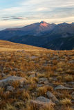 Light on Long's Peak. The last light of the day hits the summit of Long's Peak in Rocky Mountain National park in Colorado stock photography