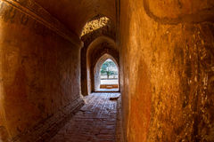 The light at long underground brick wall tunnel abstract backgro Stock Images