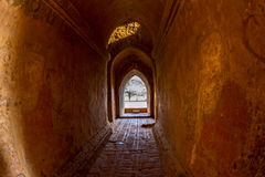 The light at long underground brick wall tunnel abstract backgro Stock Photography