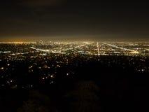 Light of Los Angeles in the dark night. Beautiful landscape of light of Los Angeles in the dark night Stock Photo