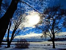 Light of Love. This is a beautiful sunny day with clouds in the winter Stock Photos