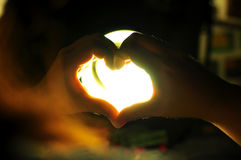 Light love hand Stock Photo