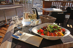 Light lunch in the open-air restaurant. Royalty Free Stock Photography