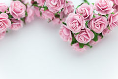 Light magenta roses in wood  background Royalty Free Stock Photos