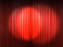 Light on the main stage. Red curtain of a classical theater Royalty Free Stock Image