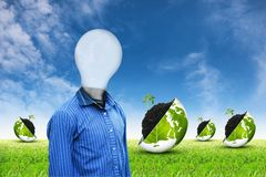 Light man on grass sky background 2 Stock Images