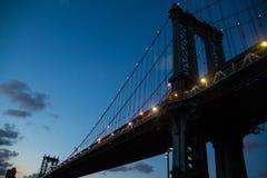 Light on the Manhattan bridge at night. New York Royalty Free Stock Photography