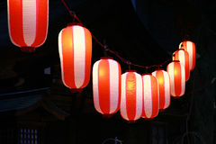 Light of many lanterns. Night view of the light of the red-and-white lantern Stock Image