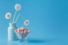 Light marshmallow sweets like dandelion Royalty Free Stock Photos