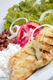 Light meal. Chicken with baked potato, lettuce and tomato Royalty Free Stock Photo