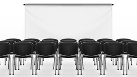 Light Meeting Presentation Room With Projection Screen. Meeting Presentation Room With Projection Screen. EPS10 Vector Royalty Free Stock Image