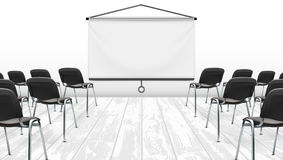 Light Meeting Presentation Room With Projection Screen Stock Photos