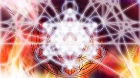 Light merkaba on abstract color background. Sacred geometry. royalty free illustration