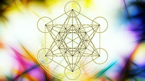 Light merkaba and Flower of life on abstract color background and fractal structure. Sacred geometry. Royalty Free Stock Photography