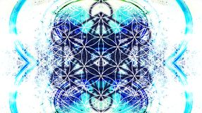 Light merkaba and Flower of life on abstract color background and fractal structure. Sacred geometry. stock illustration