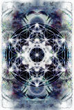 Light merkaba and Flower of life on abstract color background. Sacred geometry. Royalty Free Stock Image