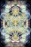 Light merkaba and Flower of life on abstract color background. Sacred geometry. Stock Photo