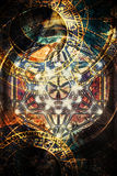 Light merkaba and zodiac in cosmic space. Sacred geometry. Royalty Free Stock Photography