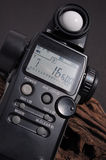 Light meter. The light meter over black background royalty free stock images