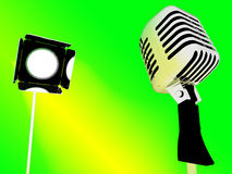 Light And Microphone Shows Concert Entertainment Or Talent. Light And Microphone Showing Concert Entertainment Or Talent Stock Photo