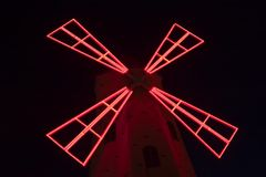 Light Mill. A windmill lit up in the dark Royalty Free Stock Photo
