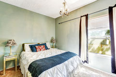 Light mint bedroom with bed Royalty Free Stock Photos