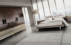 Light modern bedroom view. A 3d rendering of light modern bedroom Royalty Free Stock Images
