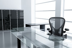 Light modern cubicle. With a table and an armchair in a time off Stock Image