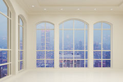 Light modern interior in the room with city view Royalty Free Stock Images