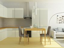 Light modern kitchen in a small flat, studio Royalty Free Stock Images