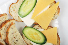Light morning sandwich. Whith bread, cucumbers and cheese Royalty Free Stock Image