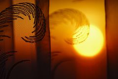 Rising sun through the curtain stock images