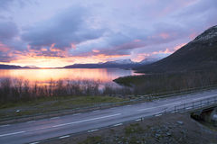 Light morning to the viewpoint at Abisko Royalty Free Stock Photo