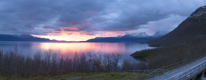 Light morning to the viewpoint at Abisko Royalty Free Stock Image