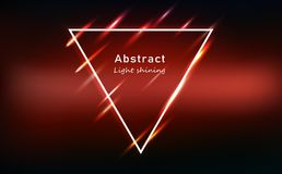 Light motion abstract glowing effect red neon triangle frame, beam bright shining technology banner template background vector royalty free illustration