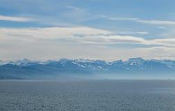 Light mountain landscape. Lake Leman. City of Lausanne, Swiss Royalty Free Stock Image