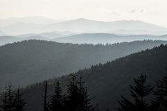 Light on the mountains of the Smokies. stock images
