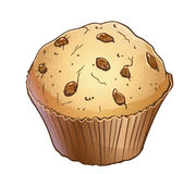 Light muffin with choc chip. Vector light muffin with choc chip  on white Stock Photos