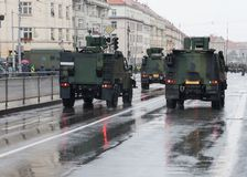 Light multirole vehicles , infantry mobility vehicles on military parade  in Prague, Czech Republic. Light multirole vehicles , infantry mobility vehicles on royalty free stock photography