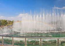 Light and music fountain. Tsaritsyno State Museum Royalty Free Stock Photography