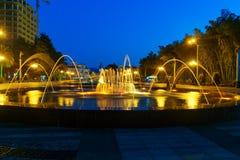 Light Musical Fountain in Seaside Park at night. Batumi, Georgia Royalty Free Stock Photography