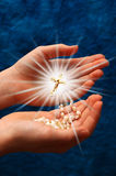Light in my hand royalty free stock photography