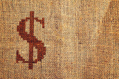 Light natural burlap texture with dollar symbol Stock Images