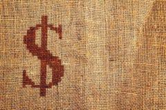Light natural burlap texture with dollar symbol Stock Images